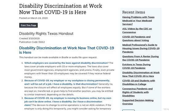 텍사스에서 배포된 장애권리(Disability Right)에서는 고용주와 장애인 노동자 입장 모두에서 참고가 될 만한 정보들을 질의응답 방식으로 정리됐다.ⓒhttps://www.disabilityrightstx.org