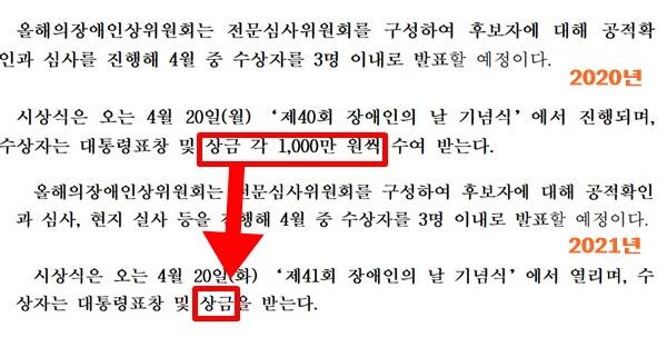 2020년과 2021년 각각 한국장애인개발원이 배포한 올해의 장애인상 수상후보자 모집 보도자료. 지난해 1000만원이라고 구체적 액수가 적힌 반면, 올해는 상금이라고만 나와 있다.ⓒ에이블뉴스